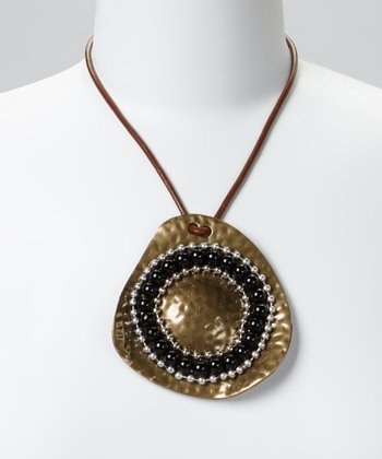 Gold & Black Hammered Beaded Leather Pendant Necklace