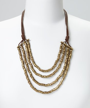 Gold Beaded Leather Bib Necklace