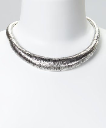 Silver Textured Bib Necklace