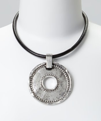 Silver Circle Hammered Leather Pendant Necklace