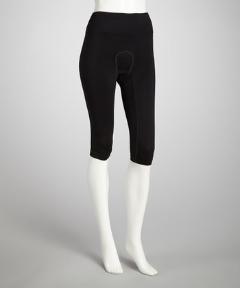 Black Padded Knee-Patch Capri Riding Tights - Women