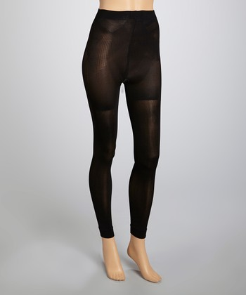 Black Footless Tights - Women