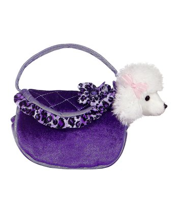 Poodle Plush Toy & Purple Leopard Carrying Case