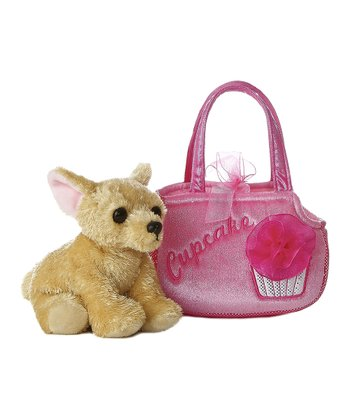 Chihuahua Plush Toy & 'Cupcake' Carrying Case