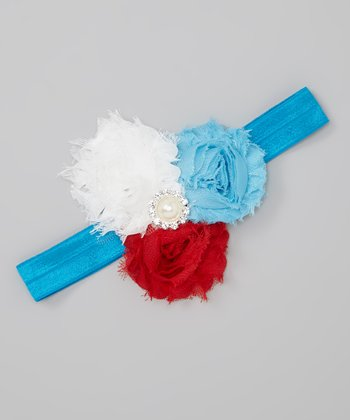 Aqua & Red Mia Shabby Headband