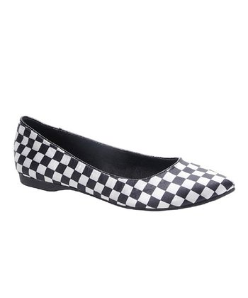 Black Checkerboard Chamay Flat