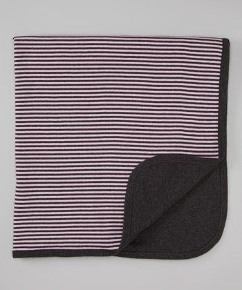 Pink Stripe Little Star Organic Stroller Blanket