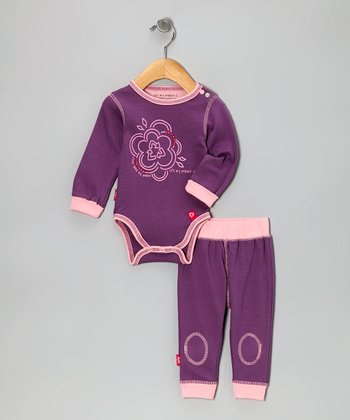 Pink Eco Flower Organic Bodysuit & Pants - Infant