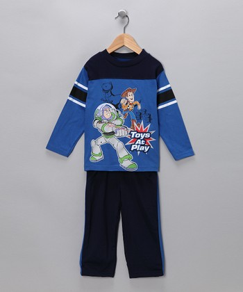 Blue & Navy 'Toys at Play' Tee & Pants - Infant