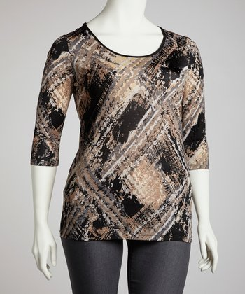 Black & Beige Watercolor Top - Plus