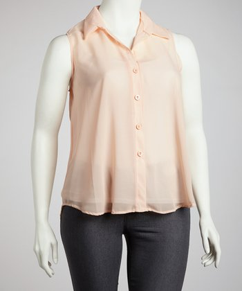 Peach Sleeveless Chiffon Button-Up Top - Plus