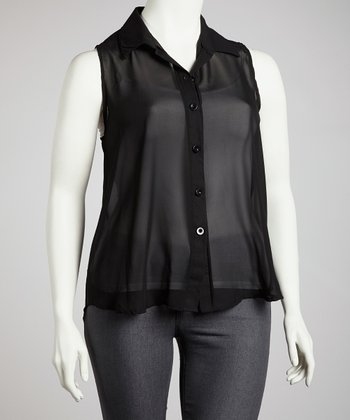 Black Sleeveless Chiffon Button-Up Top - Plus