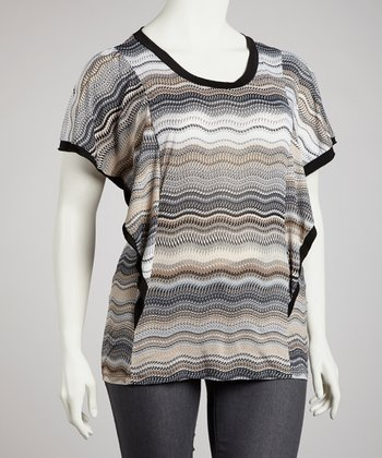 Gray Stripe Top - Plus