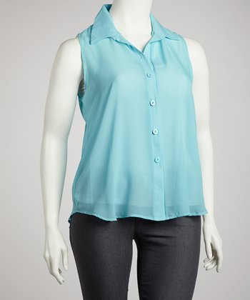 Blue Sleeveless Chiffon Button-Up Top - Plus