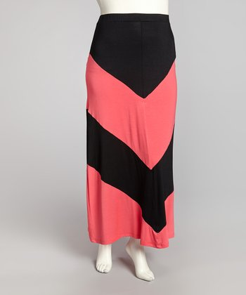 Black & Coral Cheveron Maxi Skirt - Plus