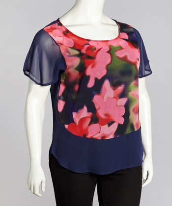 Navy & Fuchsia Sheer Floral Top - Plus