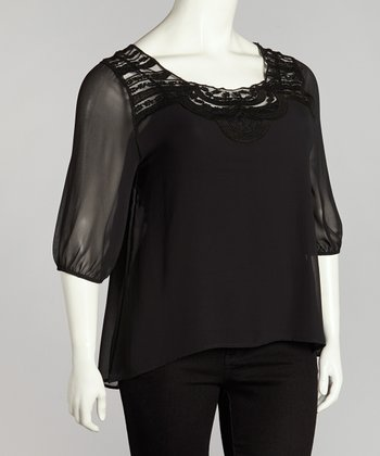 Black Lace Top - Plus