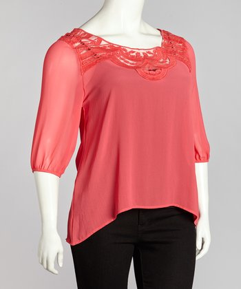 Coral Lace Top - Plus