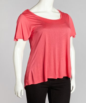 Coral Crisscross Back Top - Plus
