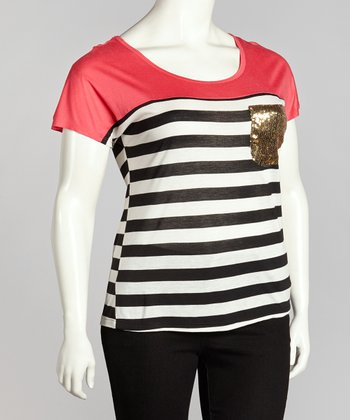 Coral Stripe Top - Plus