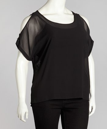 Black Sheer Button Back Cutout Top - Plus