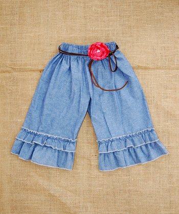 Denim Ruffle Capri Pants - Infant, Toddler & Girls