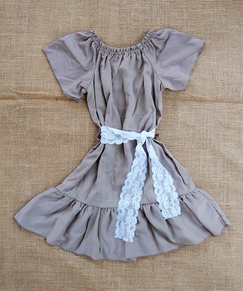 Ash Brown Peasant Dress - Infant, Toddler & Girls