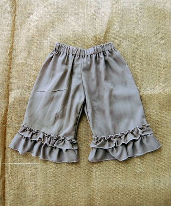 Ash Brown Ruffle Capri Pants - Infant, Toddler & Girls