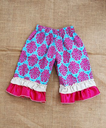 Turquoise Bora Bora Ruffle Capri Pants - Infant, Toddler & Girls