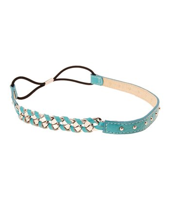 Sky Blue & Rhodium Soiree Leather Headwrap