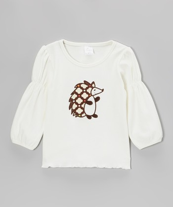 Cream Polka Dot Hedgehog Tee - Infant, Toddler & Girls