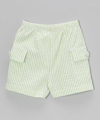 Lime & White Seersucker Cargo Shorts - Infant, Toddler & Kids
