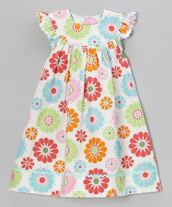 Pink & Orange Floral Yoke Dress - Infant, Toddler & Girls