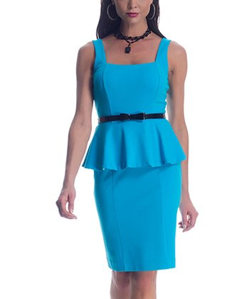Turquoise Belted Shaper Peplum Dress