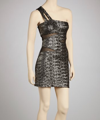 Gunmetal Snakeskin Asymmetrical Dress - Women
