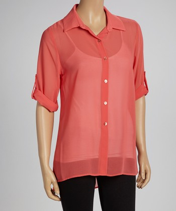 Coral Sheer Button-Up