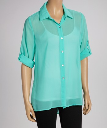 Mint Sheer Button-Up