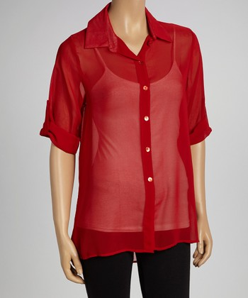 Red Sheer Button-Up