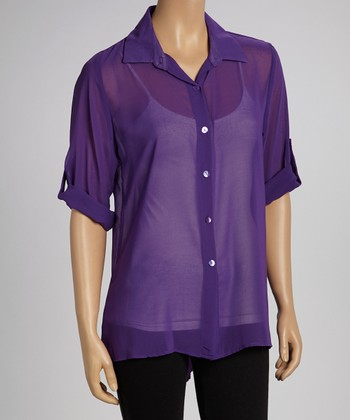 Purple Sheer Button-Up