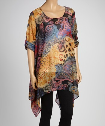 Gold Jungle Sheer Sidetail Tunic - Women & Plus