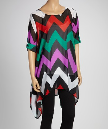Purple Zigzag Sheer Sidetail Tunic