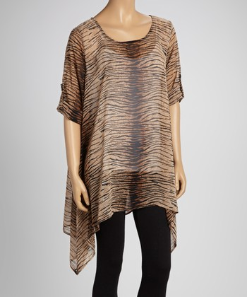 Brown Zebra Sheer Sidetail Tunic