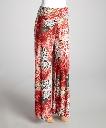 Red Jungle Palazzo Pants - Women & Plus