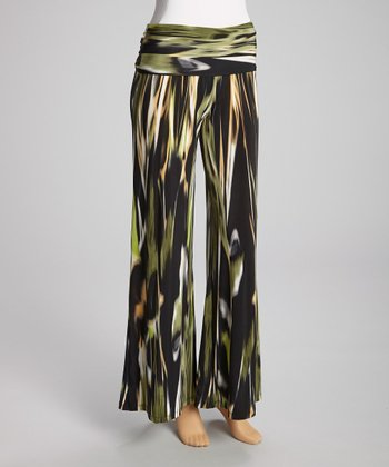 Green & Brown Abstract Palazzo Pants
