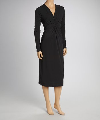 Black Knotted Long-Sleeve Dress