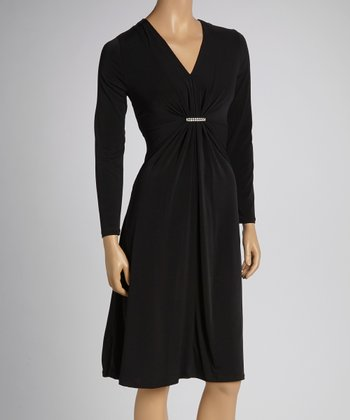 Black Shimmer Long-Sleeve Dress - Women & Plus