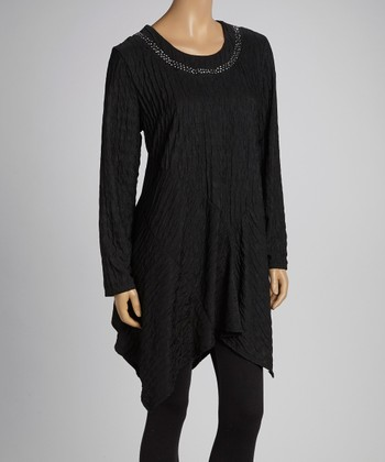 Black Embellished Sidetail Tunic