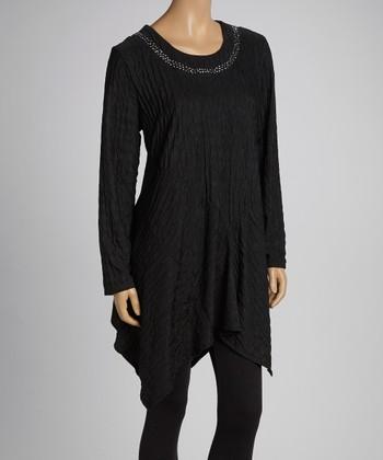 Black Embellished Sidetail Tunic