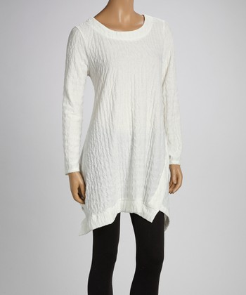 White Textured Sidetail Tunic