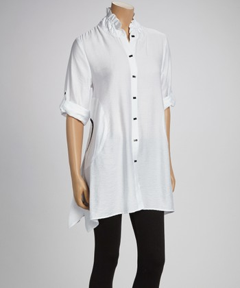 White & Black Button-Up Tunic